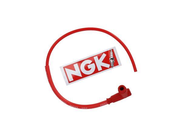 10001811 Set: Rennkerzenstecker NGK SPORT mit Kabel in Rot - Simson S50, S51, KR51 Schwalbe u.a. - MZ ES, TS, ETS, ETZ - Bild 1