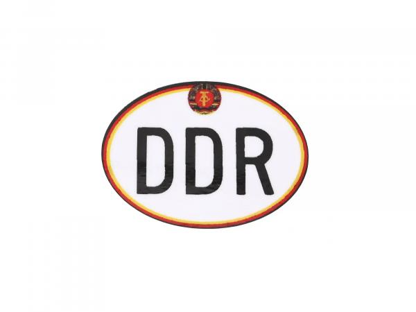 "Sticker - ""DDR"" small, with hammer and compass, oval"