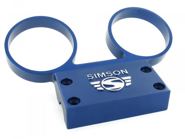 Set: Fitting holder - with mounting parts - for round instruments Ø60mm speedometer and DZM - aluminium blue anodised - SIMSON logo raised - S50, S51, S53, S70,