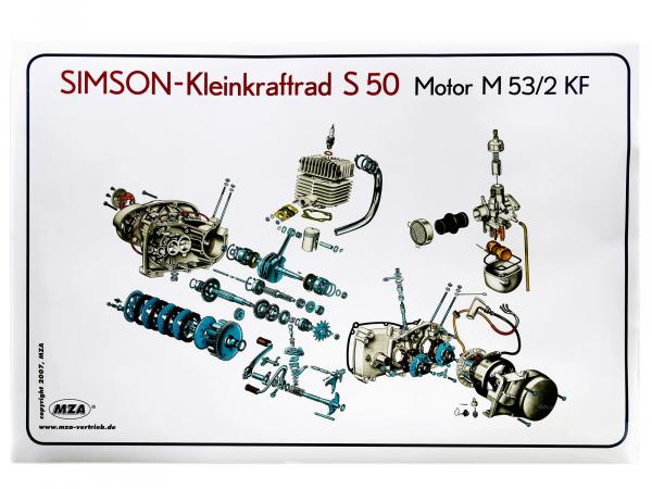 Exploded view colour poster Simson S50 Motor M53/2KF