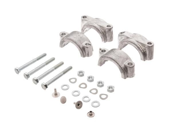 Set: 2x Formstück und Klemmbrücke für Schutzblech mit Schraubenset und Nieten - Simson S50, S51, S70, SR50, SR80
