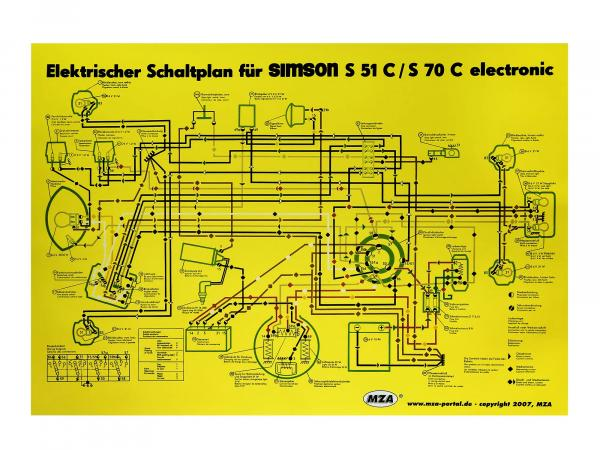 Circuit diagram color poster (35x50cm) Simson S51, S70 C 6V elektronic