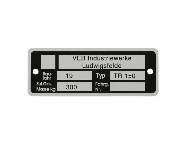Typenschild (Aluminium) - für IWL TR150 Troll