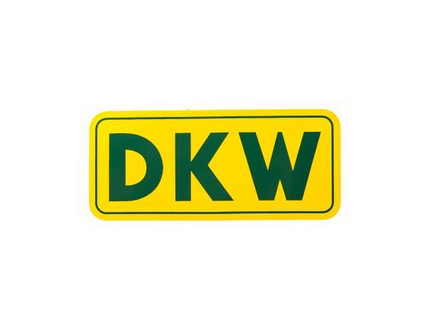 Schriftzug (Folie) DKW klein - Hintergrund gelb und mit grüner Schrift DKW