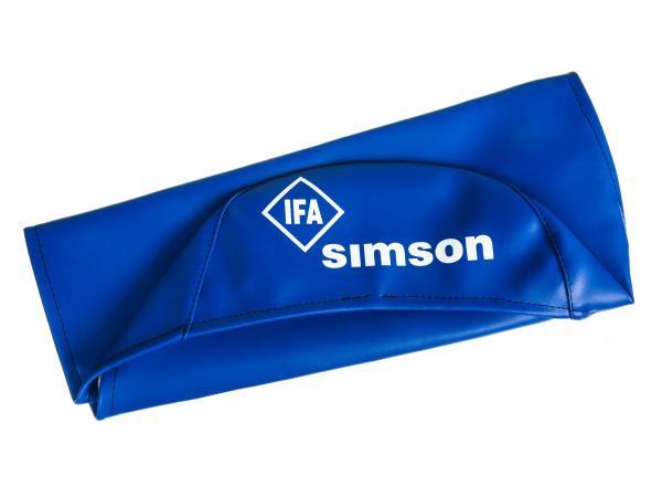 10002826 Sitzbezug glatt, blau mit SIMSON-Schriftzug - Simson S50, S51, S70, KR51/2 Schwalbe, SR4-3 Sperber, SR4-4 Habicht - Bild 1