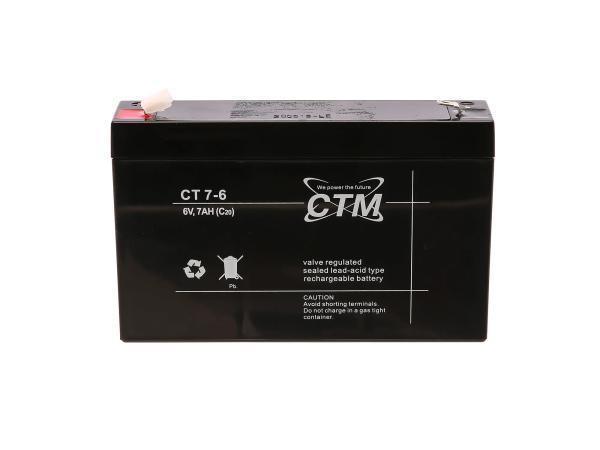 Batterie 6V 7Ah CTM (Vlies - wartungsfrei) - für Simson S50, S51, S70, SR50, SR80