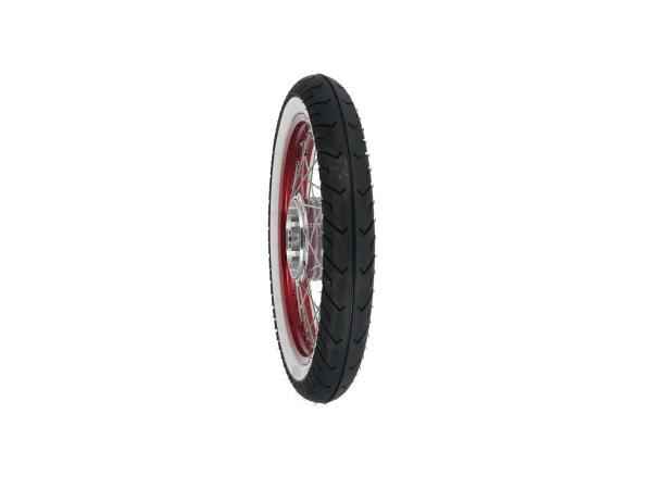 """10069408 Komplettrad hinten, 1,5x16"""" Alufelge rot + Edelstahlspeichen + Weißwandreifen Mitas MC2 - Bild 1"""