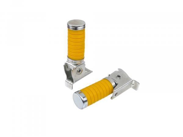 Set: Passenger footrest left and right yellow with cap, galvanized - Simson