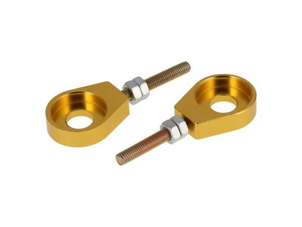 10069431 Set: 2x Kettenspanner für Schwinge, Aluminium Gold eloxiert - Simson S51, S50, SR50, Schwalbe KR51, SR4 - Bild 1