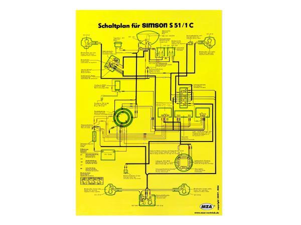 Circuit diagram color poster (40x60cm) Simson S51/1C