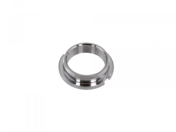 Counter nut steering bearing, chrome plated with 2 grooves + knurled - Simson SR1, SR2, KR50, KR51 Schwalbe, SR4-1 Spatz, SR4-2 Star, SR4-3 Sperber, SR4-4 Hab