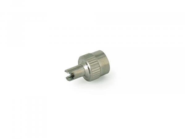 Valve cap metal, with tool and sealing ring