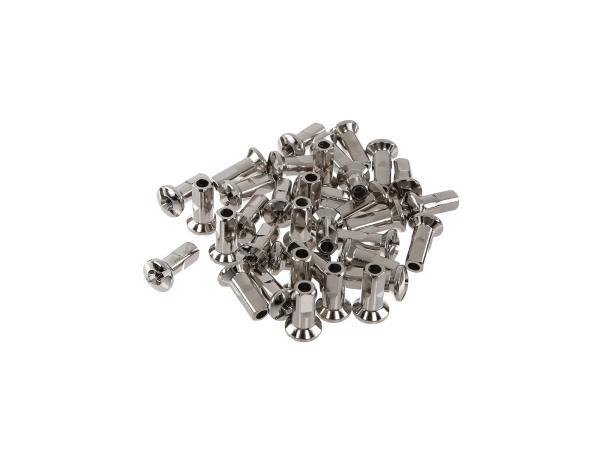 Set: Speichennippel - 18mm M3,5 vernickelt - für Simson S50, S51, S70, KR51 Schwalbe, SR4 Vogelserie