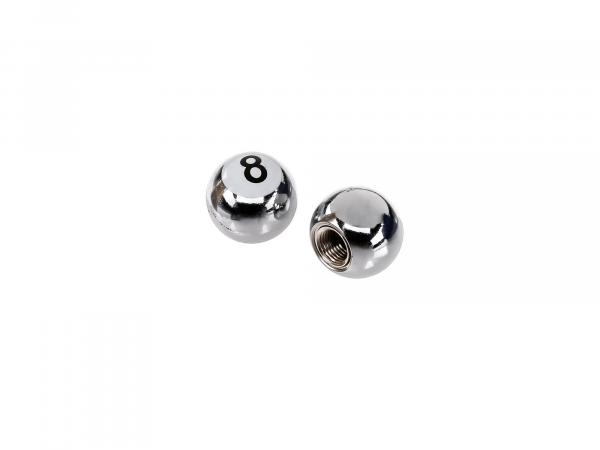 "Set: 2x valve cap ""Eightball"", chrome"
