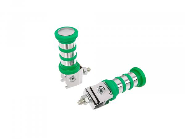 SET Passenger footrest left and right, chrome-plated, 3 rings, green, ETZ