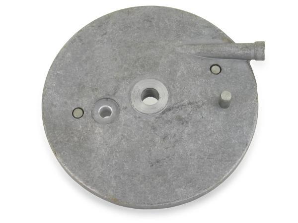 Bremsschild hinten - roh - f. innenliegenden Bremshebel - m. Loch f. Bremskontakt - mit Bolzen - Simson Vogelserie