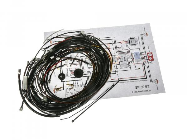 Cable harness set SR50 B3, 6V interrupter ignition with wiring diagram