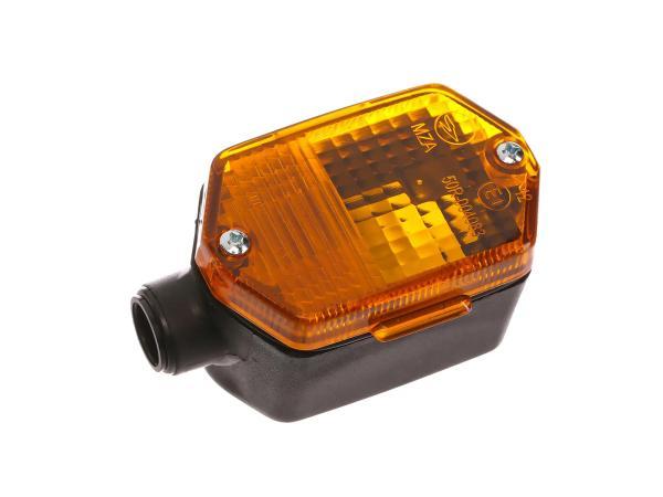 Blinker 6-eckig in Schwarz mit orangenem Glas - Simson S53, S83, SR50, SR80, MZ ETZ