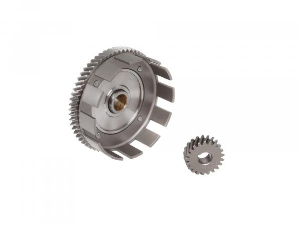 Set: clutch basket + drive pinion, 62/21 tooth - Simson S70, S83, SR80