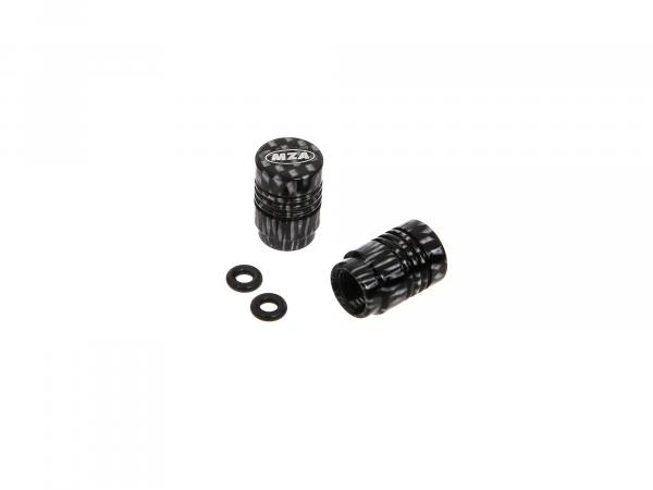 Set: 2x valve cap MZA design, carbon anodized