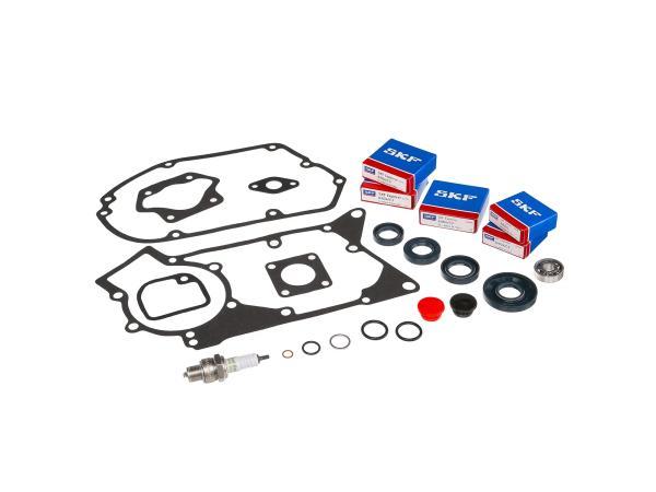 Set: ball bearings, shaft sealing rings, seals, sealing plugs, spark plugs - for Simson S51, S70, S53, S83, KR51/2 Schwalbe, SR50, SR80