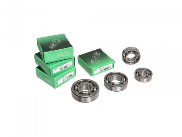 Set: ball bearing motor + gearbox, up to 1977, 6 pieces - for MZ ES125, ES150, ETS125, ETS150, TS125, TS150