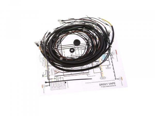 Kabelbaumset SR50, 12V optimiert für Vape, mit Schaltplan - Simson SR50/1B, SR50/1C