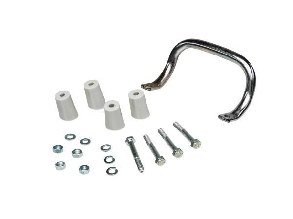 Set: Anbauteile zum Gepäckträger mit Aufbockgriff für Schwalbe KR51 - graue Distanzstücke
