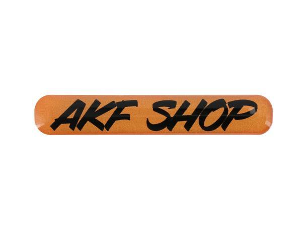 "10070612 Gelaufkleber - ""AKF Shop"" orange/schwarz - Bild 1"