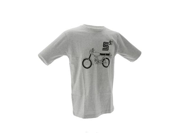 "K10000142 Basic-Shirt ""S51"" - Hellgrau meliert - Bild 1"