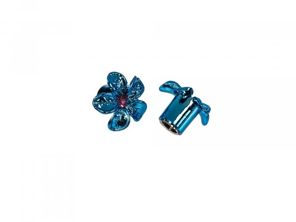 Set: 2x Ventilkappe Blume, Blau eloxiert