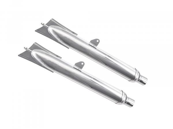 SET exhaust three-piece, dovetail, chrome plated, 1st quality, suitable for BK350.