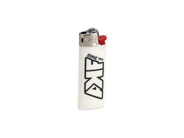 "BIC lighter white, ""AKF est. 2003"" - with chrome cap"
