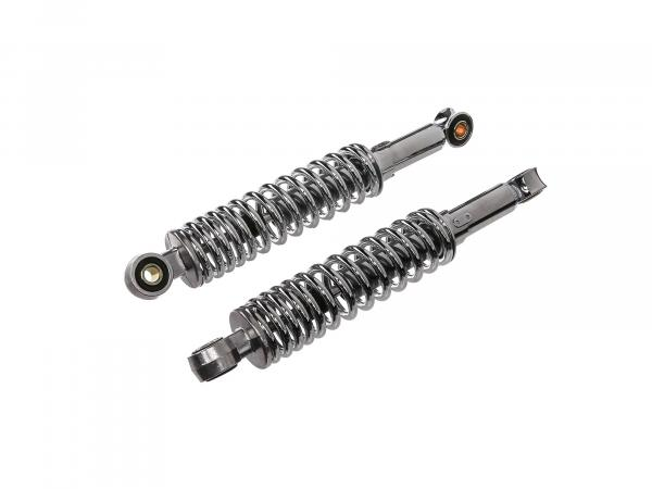 Set: shock struts, adjustable, chrome, length: ca. 280mm - Simson KR51 Schwalbe, SR4 Vogelserie