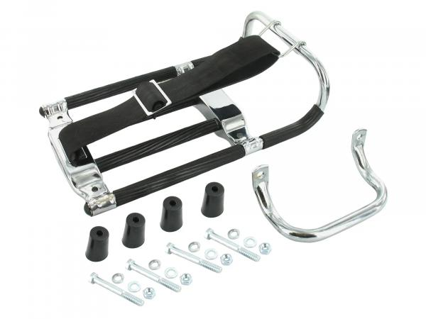 Set: luggage carrier with jack handle + small parts + black spacers - for Simson KR51 Schwalbe