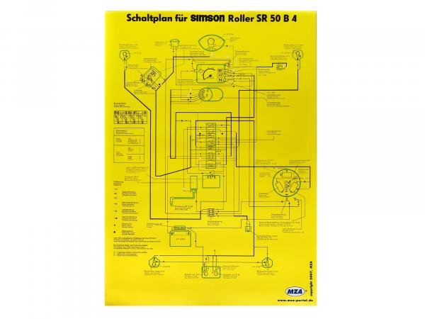 Circuit diagram color poster (40x60cm) Simson SR50 B4 6V