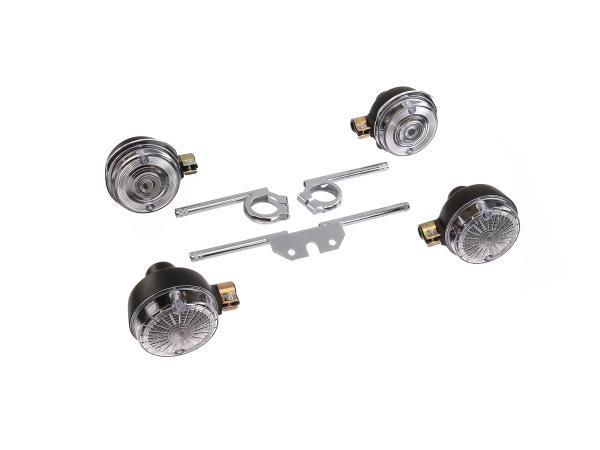 Set: 4 weiße Blinker rund, komplett inkl. Blinkerträger verzinkt - für Simson S50, S51, S70
