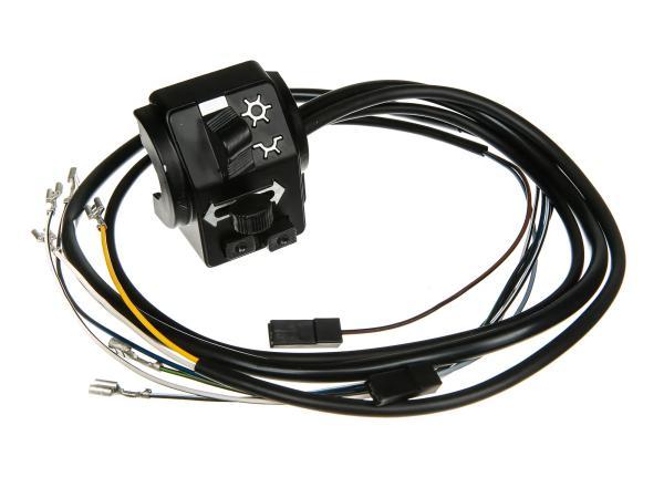 Schalterkombination 8626.19/1 mit Kabel und Lichthupe, 6 + 12V, Flachlenker - Simson S51, S70