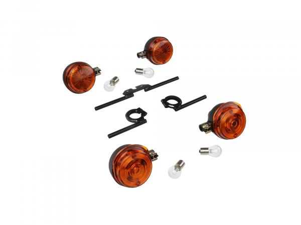 Set: 4 turn signals round complete, + 12V lamps and turn signal carrier black - for Simson S50, S51, S70