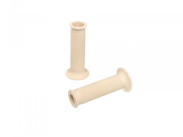 Set: 2 handlebar grip rubbers in ivory - for Simson KR51 Schwalbe, SR4-2, SR4-3, SR4-4 - MZ ES, ETS, AWO