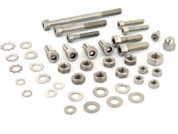 Set: Zylinderschrauben, Innensechskant in Edelstahl für Rahmen, Hinterradschwinge ohne Achsbolzen, Kippständer, Fußbremshebel - SR4