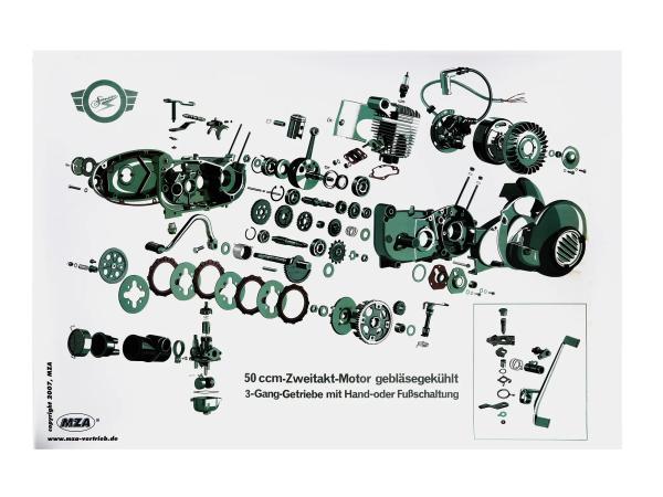 10007842 Explosionsdarstellung Farbposter Simson Schwalbe KR51/1, Star SR4-2, 50ccm Zweitakt-Motor, 3 Gang - Bild 1