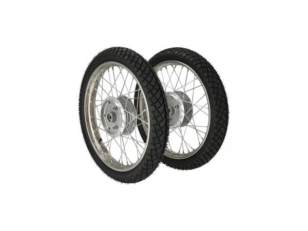 "Set: 2x complete wheel 1,5x16"" stainless steel rim + stainless steel spokes + winter tyre Heidenau K66 M+S"