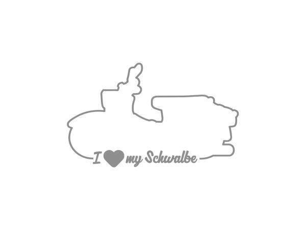 """10069159 Aufkleber - """"I LOVE MY SCHWALBE"""" Folienplot Grau, mit Übertragungsfolie - Bild 1"""