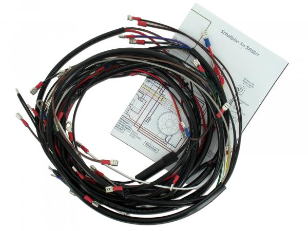 Cable harness set, basic equipment with wiring diagram - for Simson SR50, SR80
