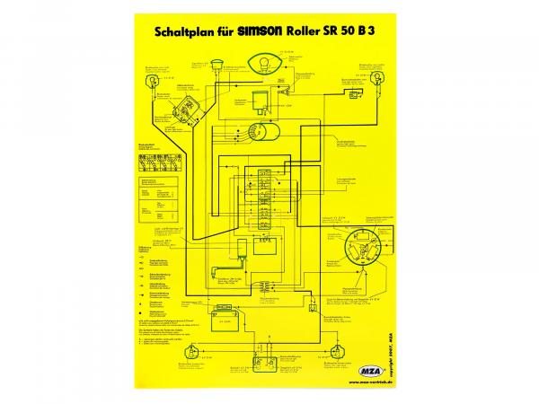 Circuit diagram color poster (40x57cm) Simson SR50 B3