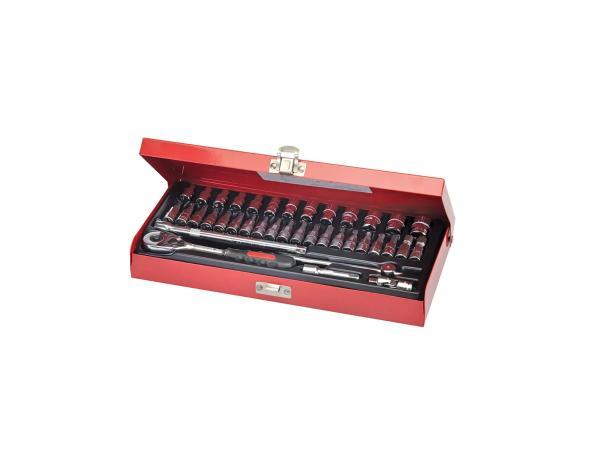 Steckschlüsselkasten mit Ratsche, 1/4-Zoll-Antrieb, 38-teilig