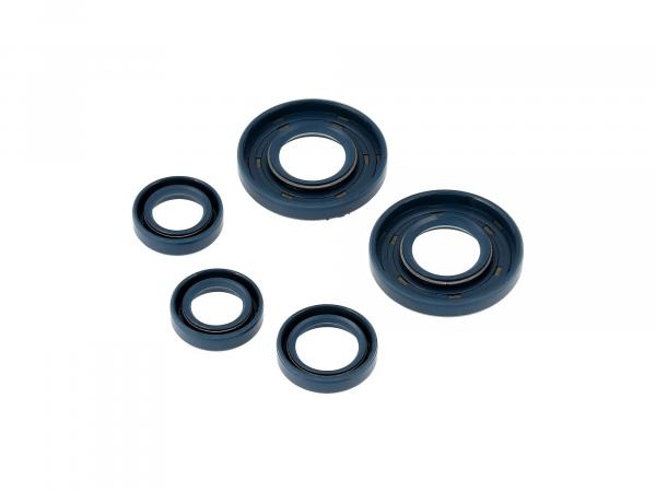 Set: Oil seals engine complete, blue - Simson S50, KR51/1 Schwalbe, SR4-2 Star, SR4-3 Sperber, SR4-4 Habicht