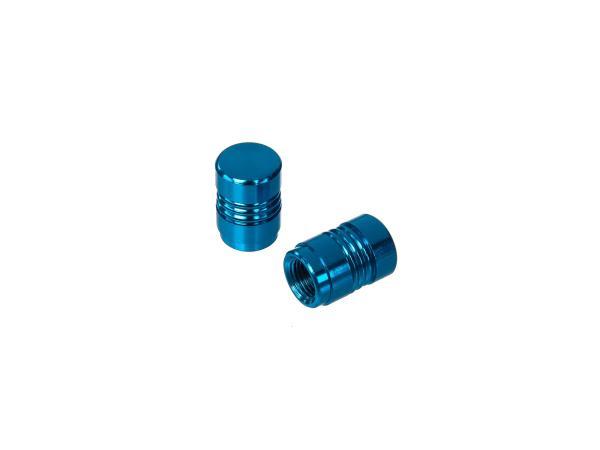 Set: 2x valve cap, blue anodized