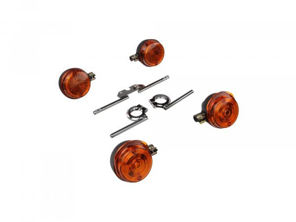 Set: 4 turn signals round complete incl. turn signal carrier chrome - for Simson S50, S51, S70